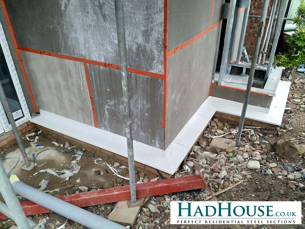 Cement Particle board is applied to the outside of the frame to aid with water-tightness of the property.